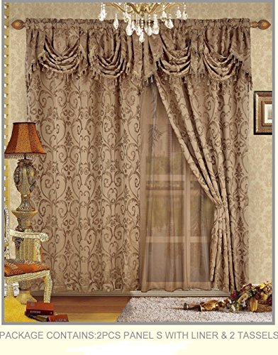 Fancy Collection Embroidered Curtain Set 4 Piece Taupe Mocha Drapes with Backing & Valance & Tie Backs #B-20