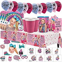 Another Dream JoJo Siwa MEGA Birthday Party Pack for 16 with Plates, Napkins, Cups, Tablecover, Favor Cup, Photo Props with Scene Setter, Tattoos, Balloons, and Birthday Pin!