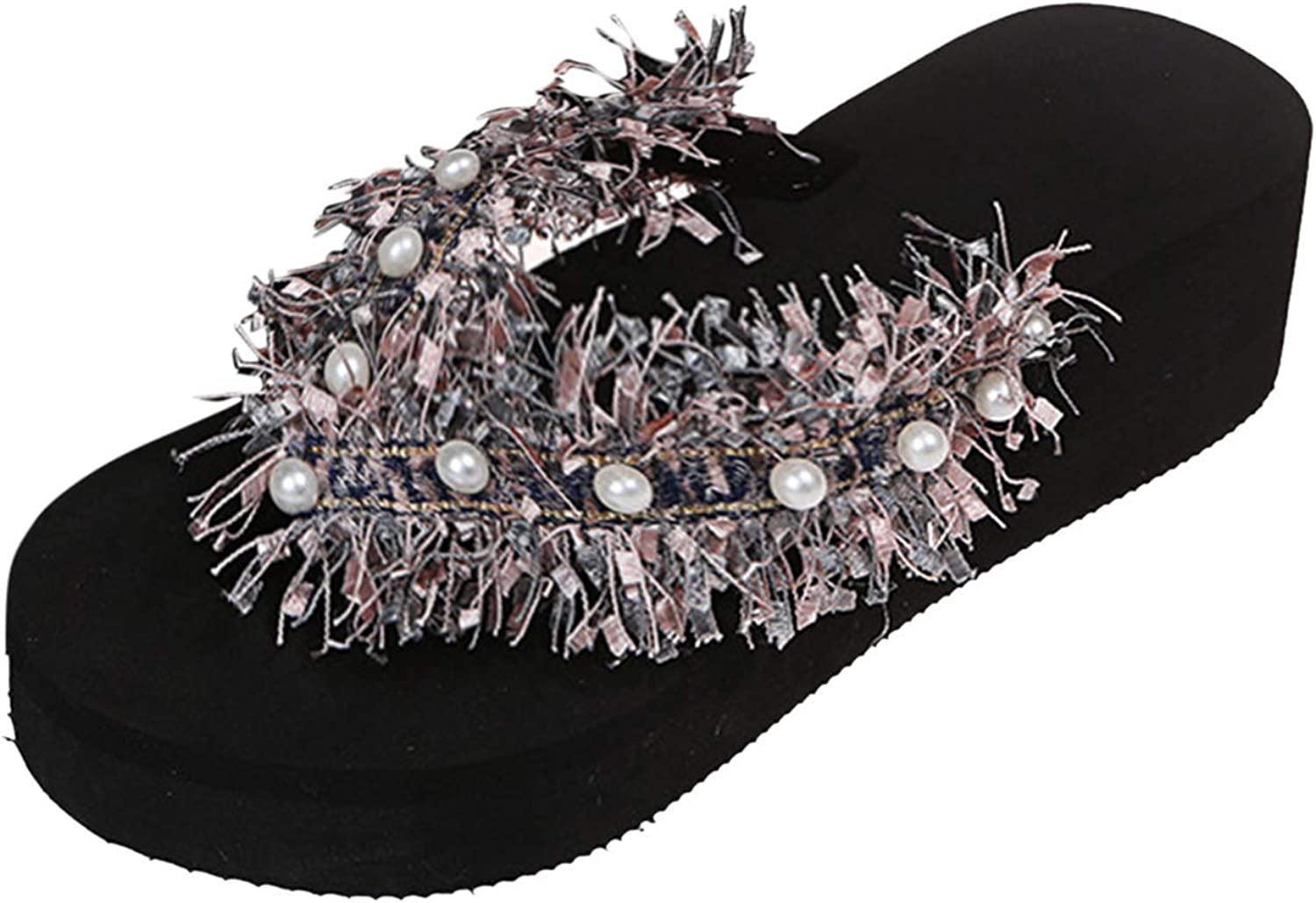 Women's Fashion Color Diamond Butterfly Flip Flops Casual Wedge Slippers