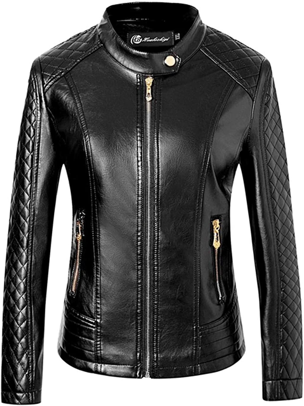 Haellun Women's Leather Short Moto Jacket Casual Coat for Spring and Autumn