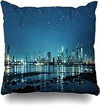 Ahawoso Throw Pillow Cover Galaxy Blue Cityscape Mumbai City Night Skyline Parks Dark Panorama Metropolis Asia Evening Design Zippered Pillowcase Square Size 18x18 Inches Home Decor Pillow Case
