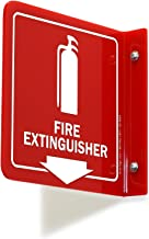 """SmartSign""""Fire Extinguisher"""" Projecting Sign, Fire Extinguisher with Down Arrow 