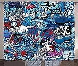 ABAKUHAUS Moderno Cortinas, Arte de la Pintada de la Calle, Sala de Estar Dormitorio Cortinas Ventana Set de Dos Paños, 280 x 225 cm, Multicolor