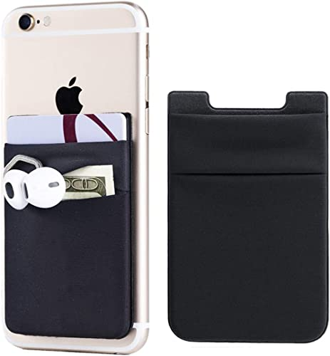2Pack Adhesive Phone Pocket,Cell Phone Stick On Card Wallet Sleeve,Credit Cards/ID Card Holder(Double Secure) with 3M...