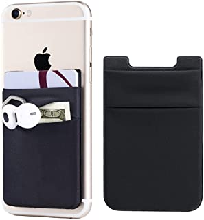 2Pack Adhesive Phone Pocket,Cell Phone Stick On Card Wallet Sleeve,Credit Cards/ID Card Holder(Double Secure) with 3M Sticker for Back of iPhone,Android and all Smartphones-Black(Double Pocket)