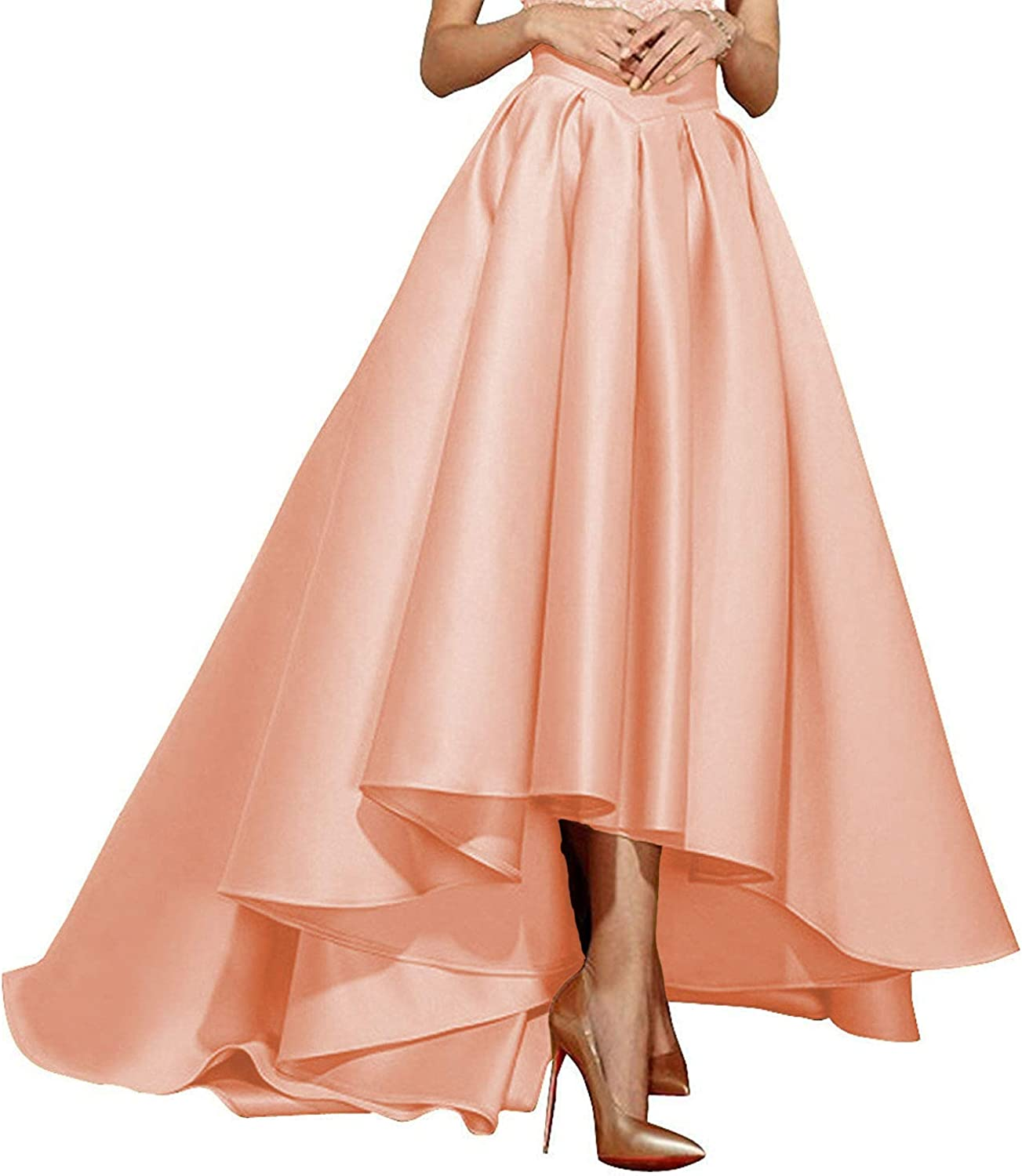 High Low Skirts Pleated Satin Maxi A Line Formal Prom Party Skirt Wedding Evening Dress for Women