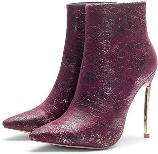 Dames Enkellaarzen, Dameslaarzen Met Metalen Hak, Damesschoenen Met Naaldhak En Naaldhak,Pink,43