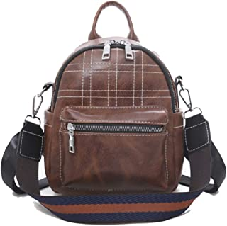 Happy-L Handbags New Fashion Retro Pu Plaid Mini Backpack Ladies Advanced Texture Backpack Zipper Waterproof Bag (Color : Brown, Size : 17 * 9 * 22cm)