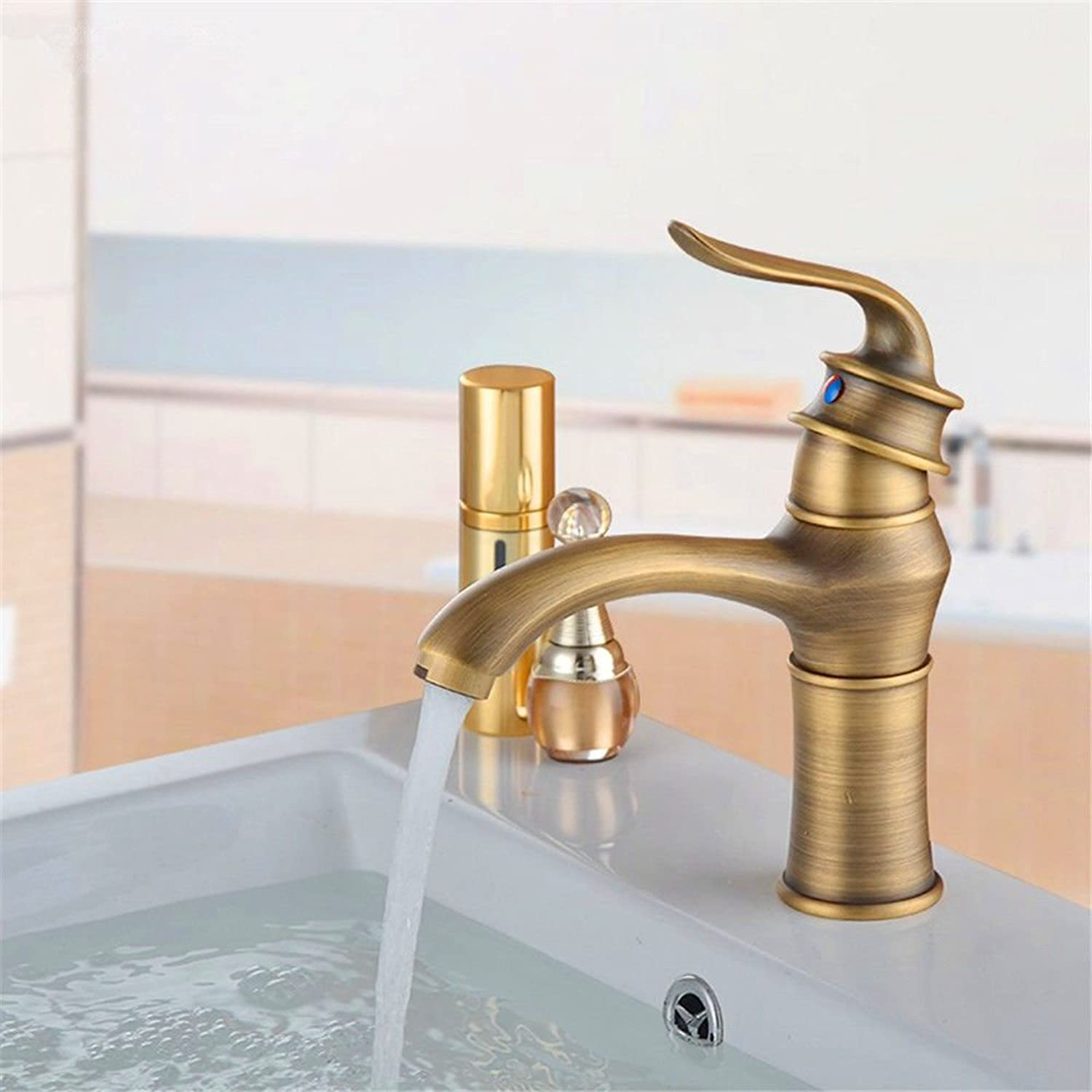 Lpophy Bathroom Sink Mixer Taps Faucet Bath Waterfall Cold and Hot Water Tap for Washroom Bathroom and Kitchen Hot and Cold Copper Retro