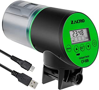 Zacro Automatic Fish Feeder - Rechargeable Timer Fish Feeder with USB Charger Cable, Fish Food Dispenser for Aquarium or Fish Tank