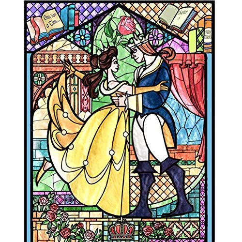 5D Diamond Painting Full Drill,Belle Princess Love Story Cartoon DIY Diamond Painting by Number Kits, Rhinestone Crystal Drawing Gift for Adults Kids, 16''x12'' Embroidery Dotz Kit Home Wall Décor