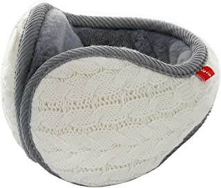 Surblue Unisex Warm Knit Cashmere Winter Pure Color Earmuffs with Fur Earwarmer, Adjustable Wrap