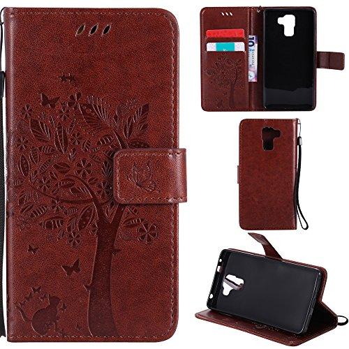 Ooboom® Huawei ShotX Hülle Katze Baum Muster Flip PU Leder Schutzhülle Handy Tasche Hülle Cover Standfunktion mit Kartenfächer für Huawei ShotX - Kaffee