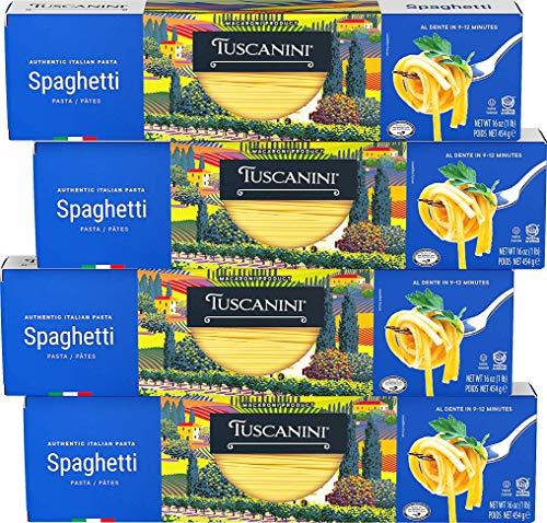 Tuscanini Authentic Italian Spaghetti Pasta 16oz (4 Pack) Made with Premium Durum Wheat