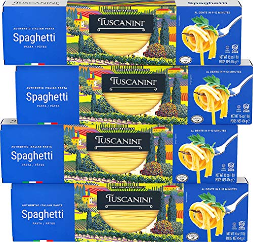 Tuscanini Authentic Italian Spaghetti Pasta 16oz (4 Pack) Made with Premium Durum Wheat
