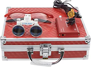 Aries Outlets Dental Surgicial Loupe Loupes 2.5X Magnification (420mm) Working Distance Burgundy Goggles +3W LED Headlamp Light with Filter Red Aluminum Box