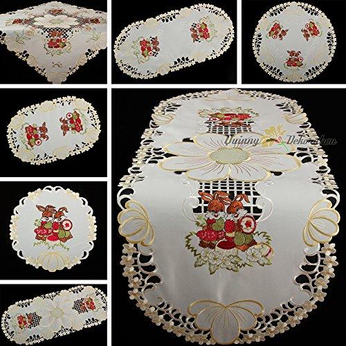 Quinnyshop Printemps Lapins de Pâques Fleurs Broderie Chemin de Table 30 x 45 cm Ovale Polyester, Crème