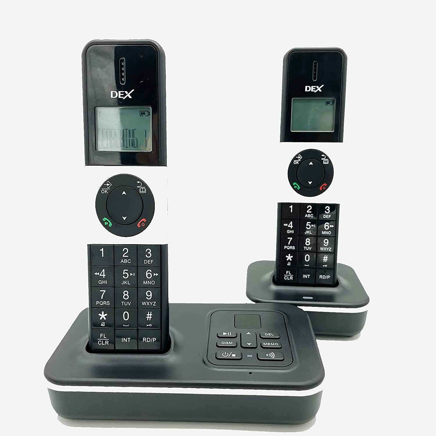 POPTEL DECT 6.0 Bluetooth Cordless Phone with LCD Caller ID/Call Waiting, Black 2 Handset, for Home and Office,PSTN