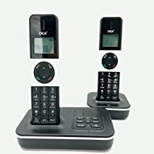 $59 » POPTEL DECT 6.0 Bluetooth Cordless Phone with LCD Caller ID/Call Waiting, Black 2 Handset, for Home and Office,PSTN