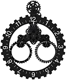 invotis wall gear clock silver