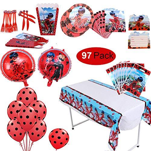 Geenber 97 Pack Miraculous Ladybug Theme Party Supplies Set de Mesa Globos Ladybug Completa Fiesta de cumpleaños Decoraciones Ladybug Pack Kids Celebration Theme