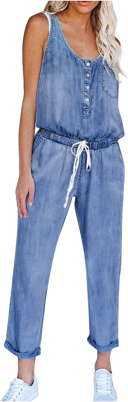 Sagton Denim Jumpsuit for Women Casual Stretch Sleeveless Tank Jumpsuit Drawstring Elastic Waist Long Romper with Pocket
