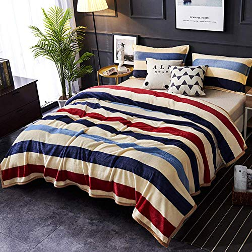 Jonist Flannel Throw Blankets Super Soft with Three-Color Stripe Pattern Thick Reversible Fleece Blanket Warm Micro Plush Lightweight Bedding Sofa Cover Soft Flannel Blanket,1,150 200cm