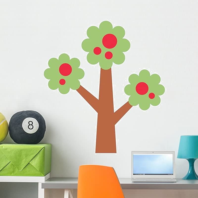Wallmonkeys GEN 10813 36 WM245371 Colorful Cartoon Abstract Apple Tree Peel And Stick Wall Decals 36 In H X 25 In W Large