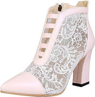 JOJONUNU Women Fashion Autumn Block Heels Booties Zipper