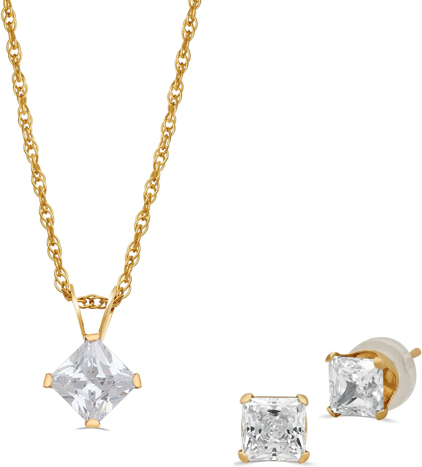 Jewelili 10K Yellow Gold 5 MM and 4 MM White Round Cubic Zirconia Stud Earring and Pendant Necklace Jewelry Set