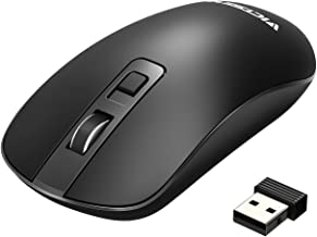 VicTsing Wireless Mouse ,4-Button Slim Silent Full Size Cordless Mice ,3 Adjustable CPI Levels, Portable Optical Mouse with USB Nano Receiver and ON-OFF Switch for PC, Laptop, Computer and Mac,Black