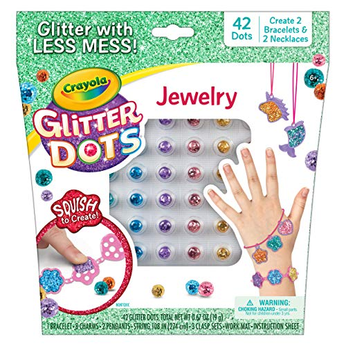 Crayola Glitter Dots Jewelry Making Kit, DIY Charm Bracelets & Necklaces, Gift for Girls and Boys, Ages 5, 6, 7, 8, Multi