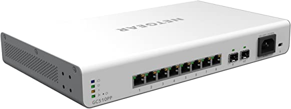 NETGEAR 10-Port Gigabit Ethernet Insight Managed Smart Cloud PoE Switch (GC510PP) - with 8 x PoE+ @ 195W, 2 x 1G SFP, Desktop/Rackmount