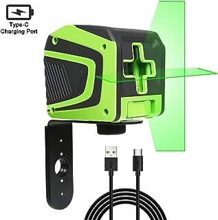 Huepar 5011G Nivel Láser Verde con modo de pulso, USB Batería de Litio Recargable, Autonivelante Líneas Cruzado Vertical/Horizontal con un Gran Angular, con 360° Base Giratoria Magnética & Bolsa