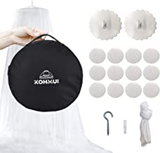 Kohmui Mosquito Net with Carry Bag, Bed Canopy Set with Adhesive Hooks for Travel and Home, Extra Large Bed Insects Mosquitoes Netting for Single to King Size Beds