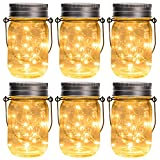 GIGALUMI Hanging Solar Mason Jar Lid Lights, 6 Pack 30 Led String Fairy Lights Solar Laterns Table Lights, 6 Hangers and Jars Included. Great Outdoor Lawn Décor for Patio Garden, Yard and Lawn.