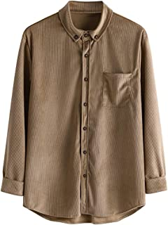 Iuhan Men Casual Solid Corduroy Pocket Long Sleeve Shirt Top Blouse Casual Hoodie Shirt Sweater Jacket for All Season Daily Casual Style