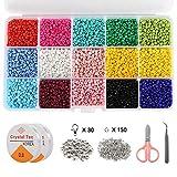 VEGCOO Cuentas de Colores, 7500pcs 3mm Mini Perlas de Vidrio para Niñas Niños...