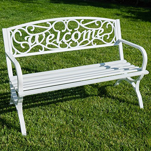 BELLEZE Outdoor Park Bench 50' inch Welcome Elegance Design Seat Backyard Steel Frame, White