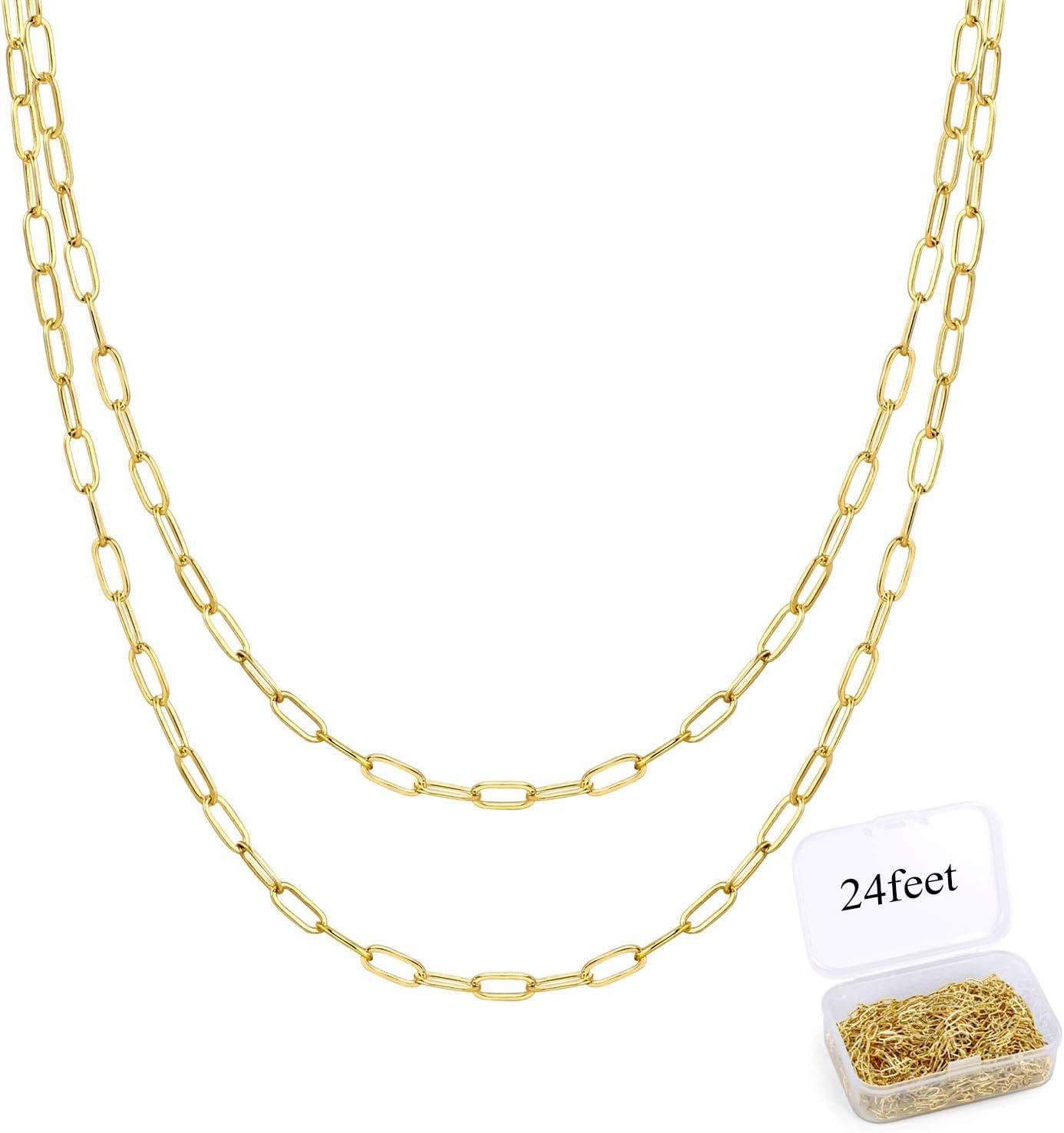 Cadena de oro de 24 pies para hacer joyas, cadena con clip, cadena de eslabones ovalados a granel para collar de joyería DIY