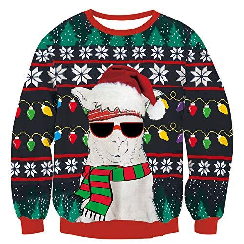 TUONROAD Unisex Männer Frauen Ugly Christmas Sweater Lustige Sonnenbrille Schaf Langarm Weihnachten Pullover Urlaub XL