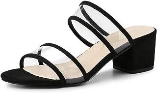 Allegra K Women's Clear Strap Block Heel Slide Sandals