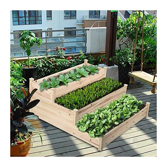 YAHEETECH 3 Tier Wooden Raised Garden Bed Elevated Planter Box Kit Outdoor Solid Wood 49''x49''x21.9'' 3 Selected material – Our raised garden bed is made of no paint, non-toxic 100% fir wood, which is known for its strength and dimensional stability as well as its natural resistance to rot and pests. The 1.5cm/ 0.6'' thick solid wood boards are only sanded to prevent any undesired injury caused by wood splinters. Useful & Practical – With this helpful planter, you can cultivate plants like vegetable, flowers, herbs in your patio, yard, garden and greenhouse, and make them more convenient to manage. Customizable design – This elevated planter provides 3 growing areas for different plants or planting methods. Each tier is connected with wood plugs, which allows this 3-tier garden bed to be easily transformed into 3 separate growing beds in different sizes if needed.