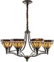 8 Head Vintage Stained Glass Chandelier Tiffany Style Retro Hanging Pendant Lamp for Living Room Bedroom Dining Room Stair...
