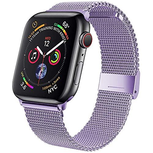 Voshion Correa para Apple Watch Band 42 mm 38mm Acero inoxidable Correa de metal Milanese Loop pulsera para iWatch Series 5 4 3 2 1 SE 6 40mm 44mm (38 o 40 mm, lavanda)
