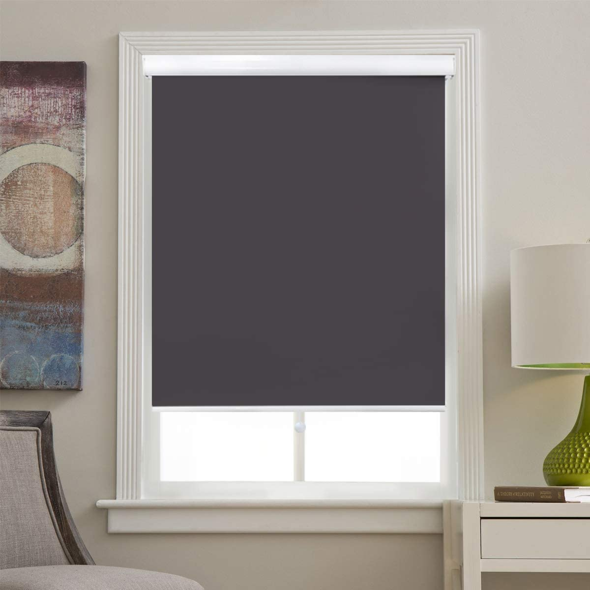 Pull Down Blinds Cordless 100% Blackout Roller Shade for Home & Office 38x72, Grey