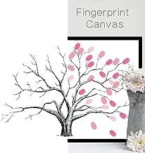 Joycentre Wedding Fingerprint Tree Canvas Guest Book Tree Thumbprint Signature DIY Wedding Supplies with Inkpad (M:4060cm(15.723.6 Inch), Gray Bole)