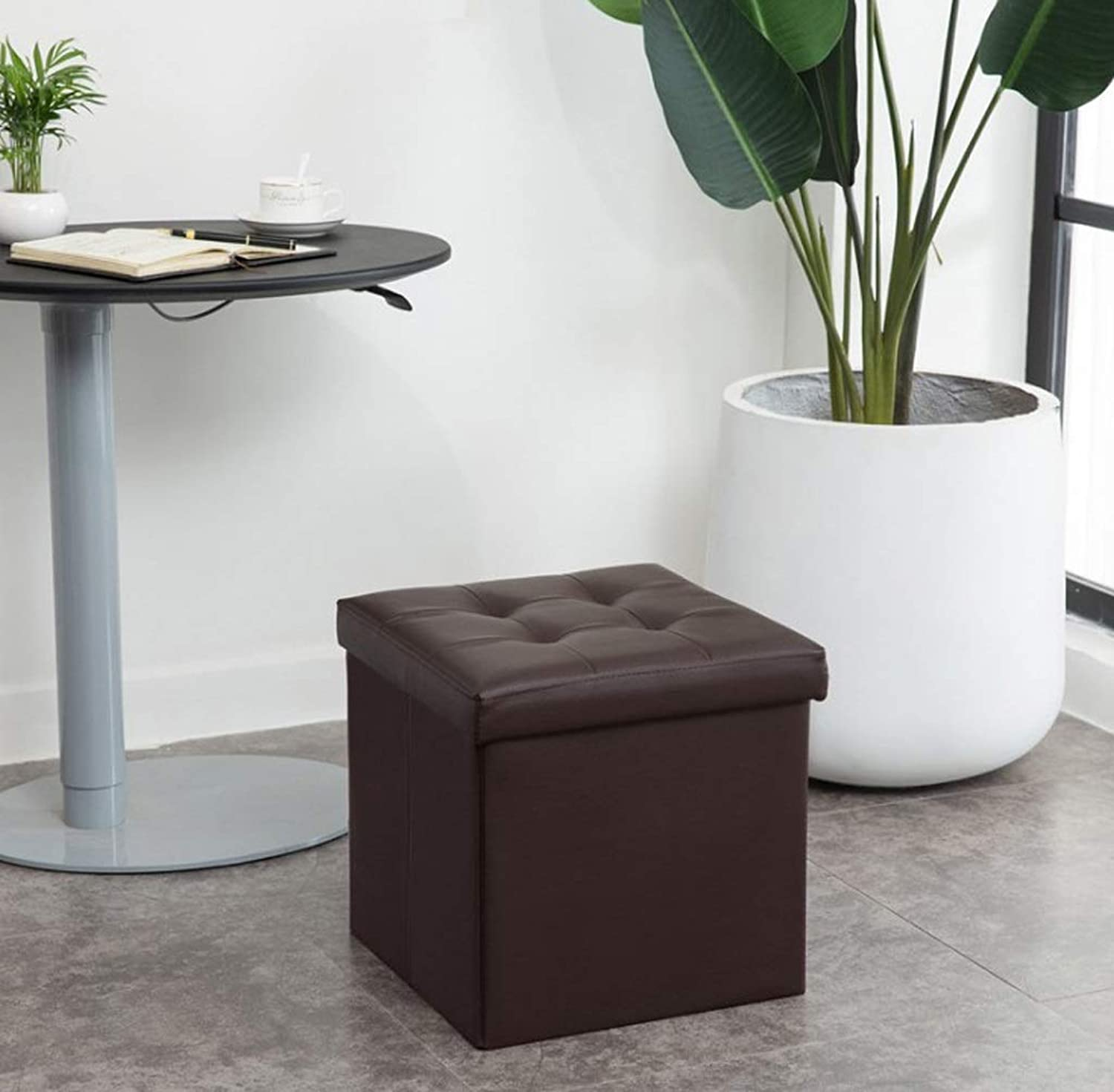 Leather Toy Storage Box Folding Storage Stool Linen Storage Box Fabric Storage Stool Hall Stool Small Stool Multi-Functional Seating Storage Box (color   Brown-S)