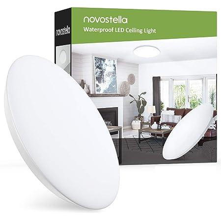 Novostella Plafonnier LED 18W 1800LM Blanc Froid 6000K Rond 30CM, Lampe Salle de Bain IP65 Étanche Mince, Lampe de Plafond pour chambre, cuisine, salon, balcon, couloir [Classe énergétique A+]