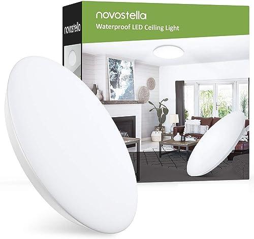 Novostella Plafonnier LED 18W 1800LM Blanc Froid 6000K Rond 30CM, Lampe Salle de Bain IP65 Étanche Mince, Lampe de Pl...